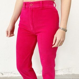 Vintage Hot Pink Corduroy Cropped Pants Size 00